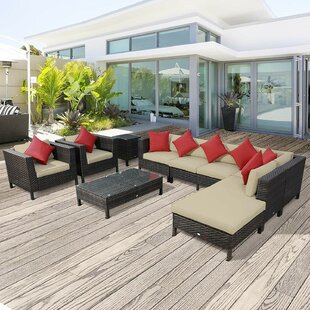 Obi 9 Piece Rattan Sectional Seating Group by Bay Isle Home Best