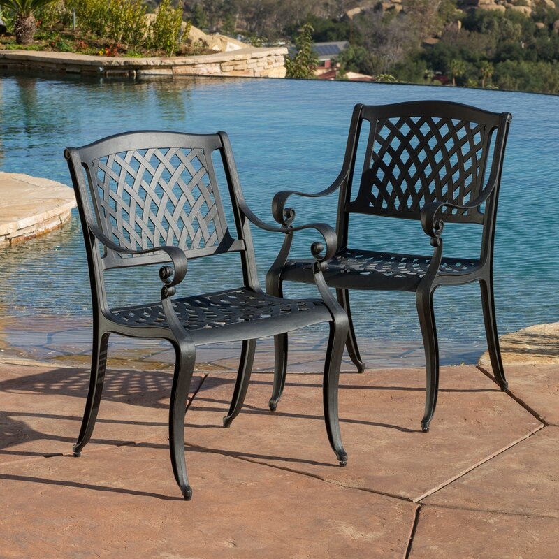 Darby Home Co Grimm Cast Aluminum Dining Arm Chair Reviews Wayfair