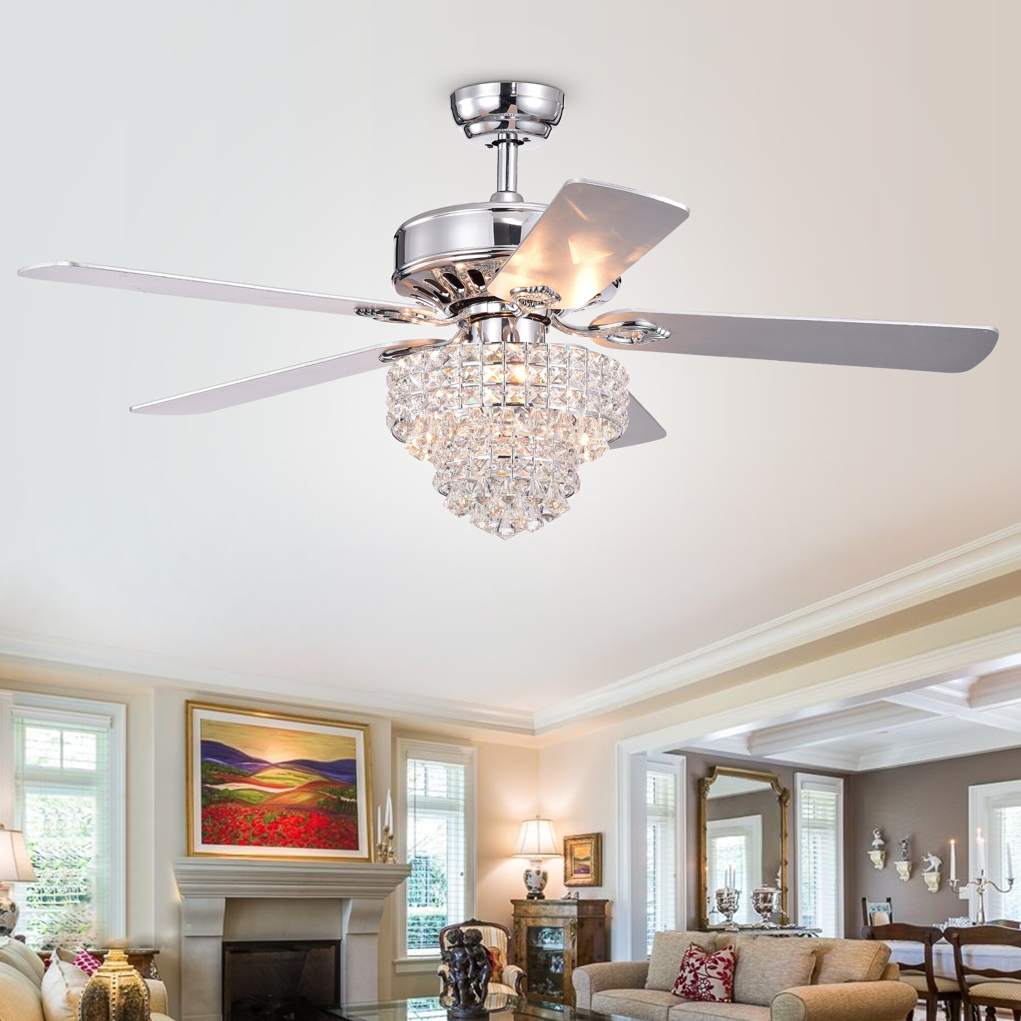 House Of Hampton 52 Scheid 5 Blade Crystal Ceiling Fan With Remote Control And Light Kit Included Reviews Wayfair Ca