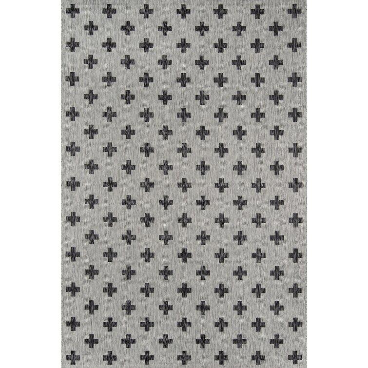 Umbria Geometric Gray/Black Indoor / Outdoor Area Rug