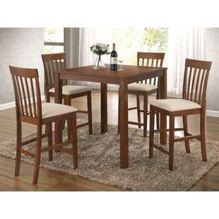 Hitchens 5 Piece Counter Height Solid Wood Dining Set Coupon
