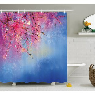 Nazario Sakura Branches Hangs Down Dramatic Night Oriental Plant Image Single Shower Curtain