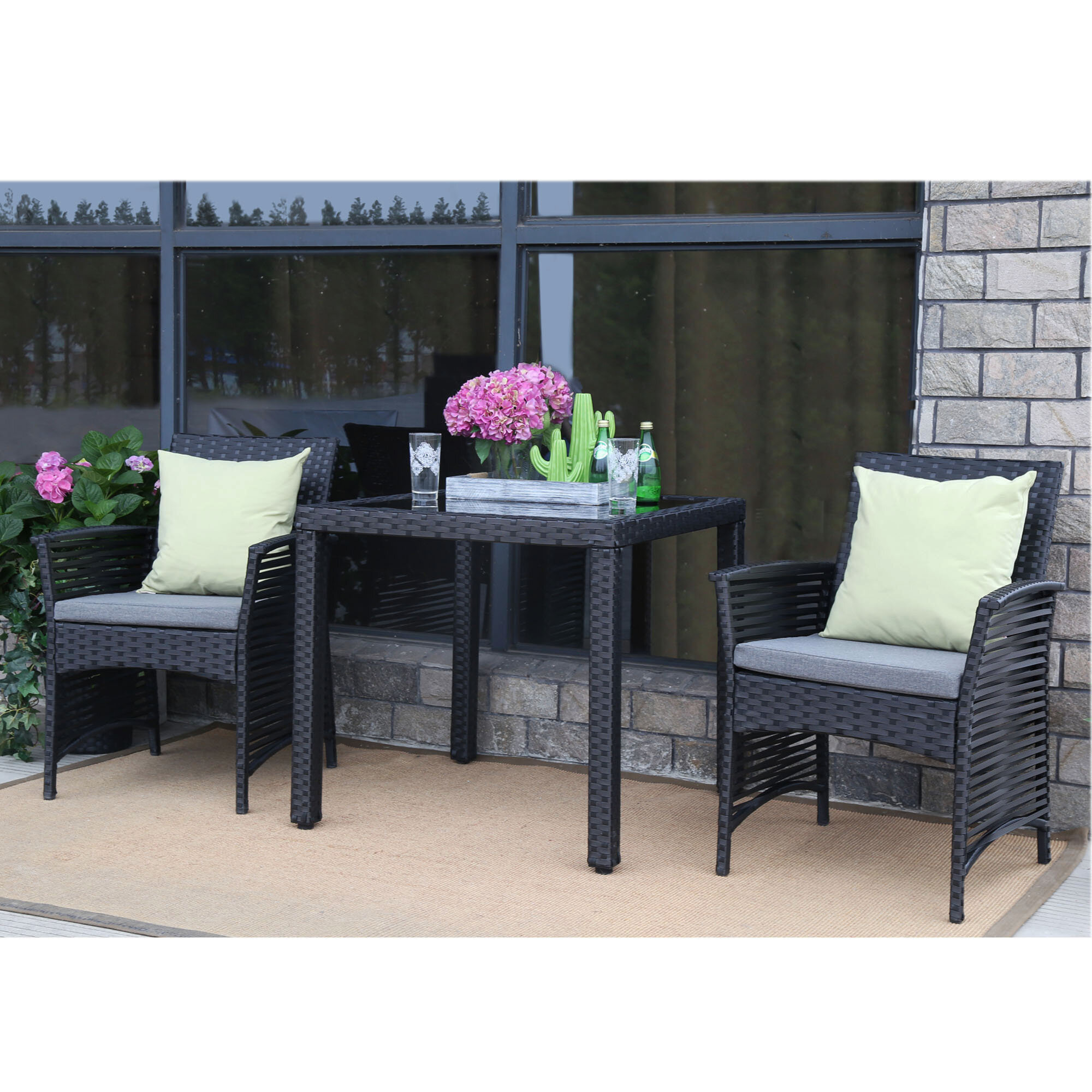 Bay isle home clover backyard steel frame 3 pieces dining set with cushions wayfair