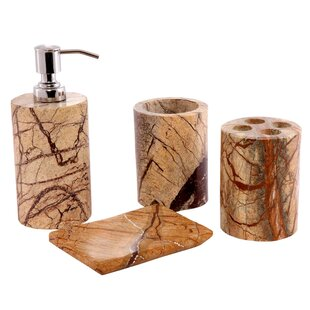 CITY LINE COLLECTION Contemporary Natural Stone Made 4 Piece Bathroom Accessory Set
