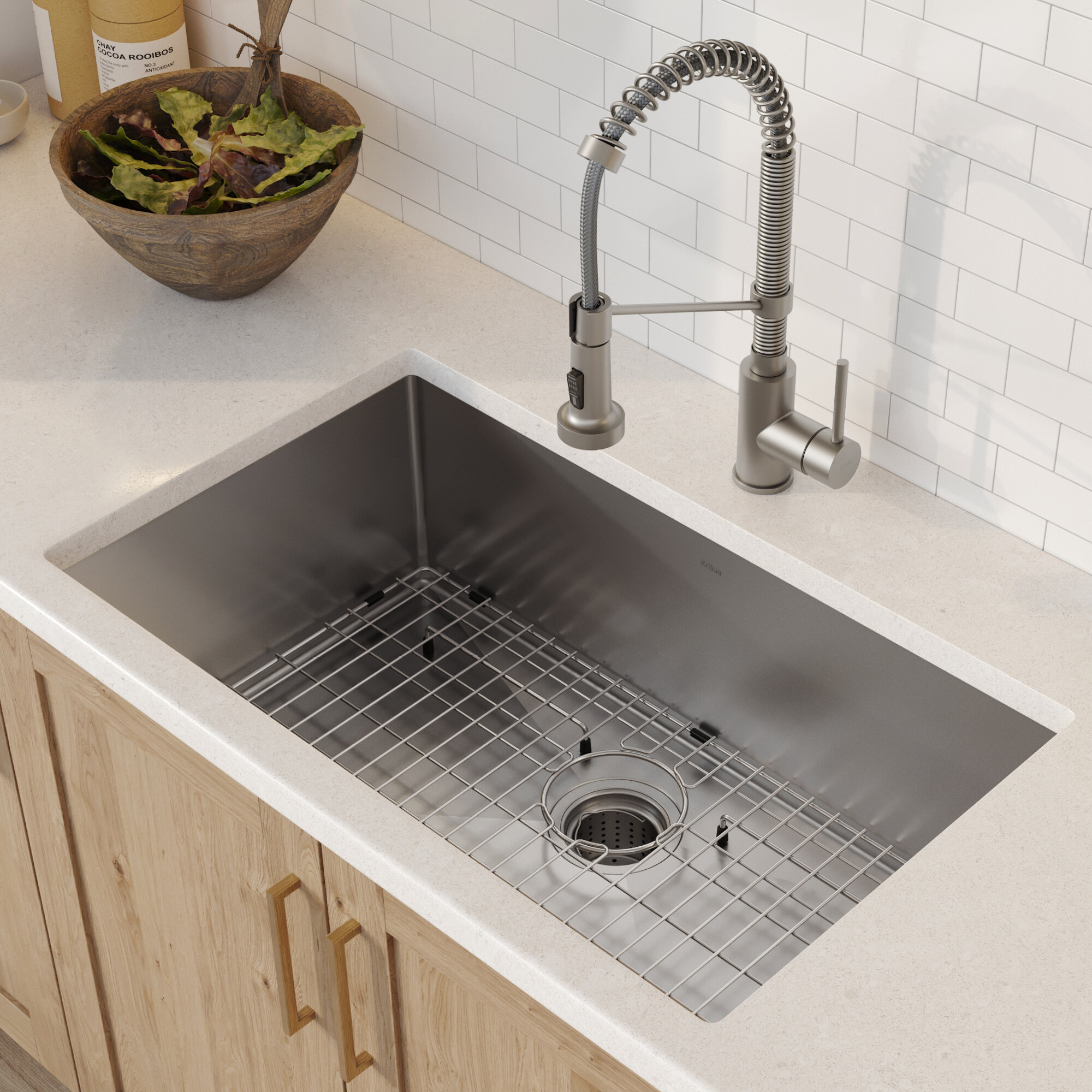 Standart Pro 30 L X 18 W Undermount Kitchen Sink With Faucet And Soap Dispenser