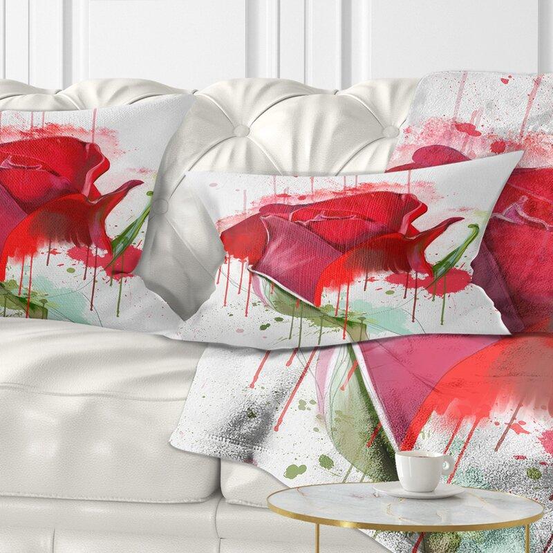 East Urban Home Floral Colorful Rose Sketch Watercolor Lumbar Pillow Wayfair