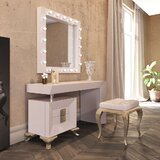 Lounsbury Vanity Set with Stool by Everly Quinn
