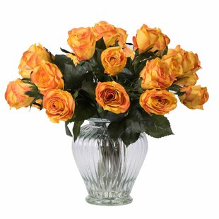 Rose Arrangement with 24 Roses in Glass Vase