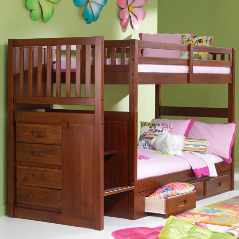 Viv Rae Kaitlyn Twin over Twin Bunk Bed with Stairs & Reviews