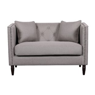 Zena Linen Tufted Nailhead Trim Chesterfield Loveseat