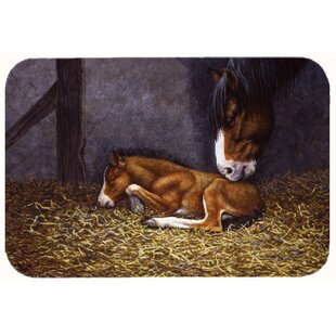 Horse and Her Foal Kitchen/Bath Mat By Caroline's Treasures