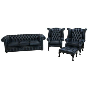 Chesterfield 3 Piece Leather Sofa Set By Winchester Leather Ltd