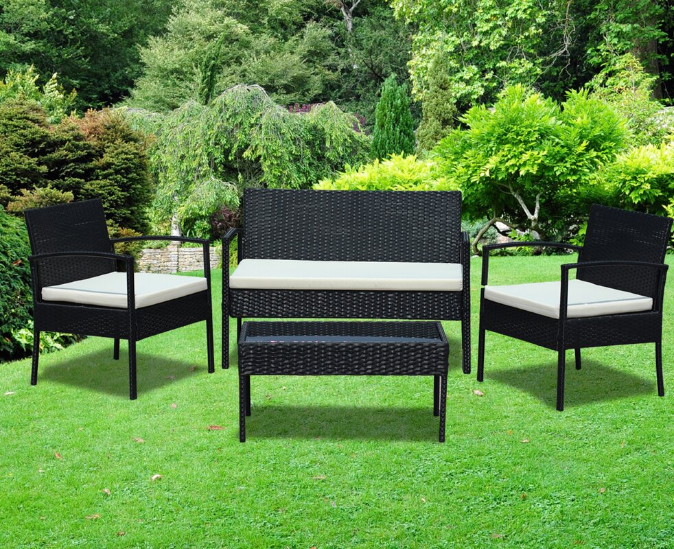 4 Piece Rattan Sofa Set With Cushions