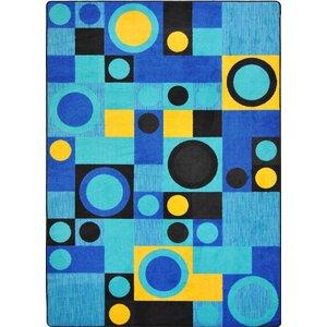 Hand-Tufled Black/Blue Area Rug