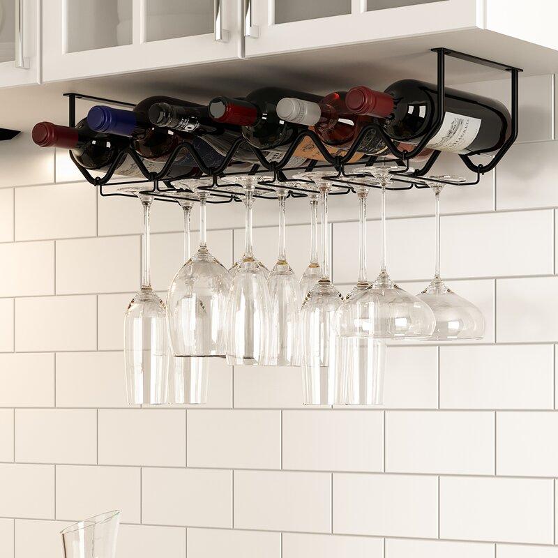 Rebrilliant Spinella 6 Bottle Hanging Wine Bottle/Glass Rack