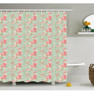 Retro Spring Blossom Flowers with French Garden Florets Garland Artisan Image Shower Curtain Set by Ambesonne