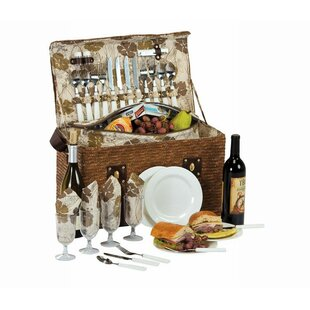 Person Picnic Basket with Insulated Cooler