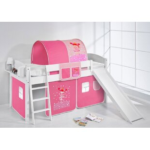 Princess European Single Mid Sleeper Bed With Bottom Bunk Curtain by Just Kids