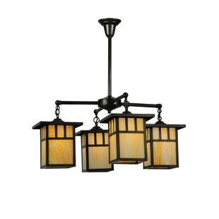 Meyda Tiffany Greenbriar Oak 4-Light Shaded Chandelier