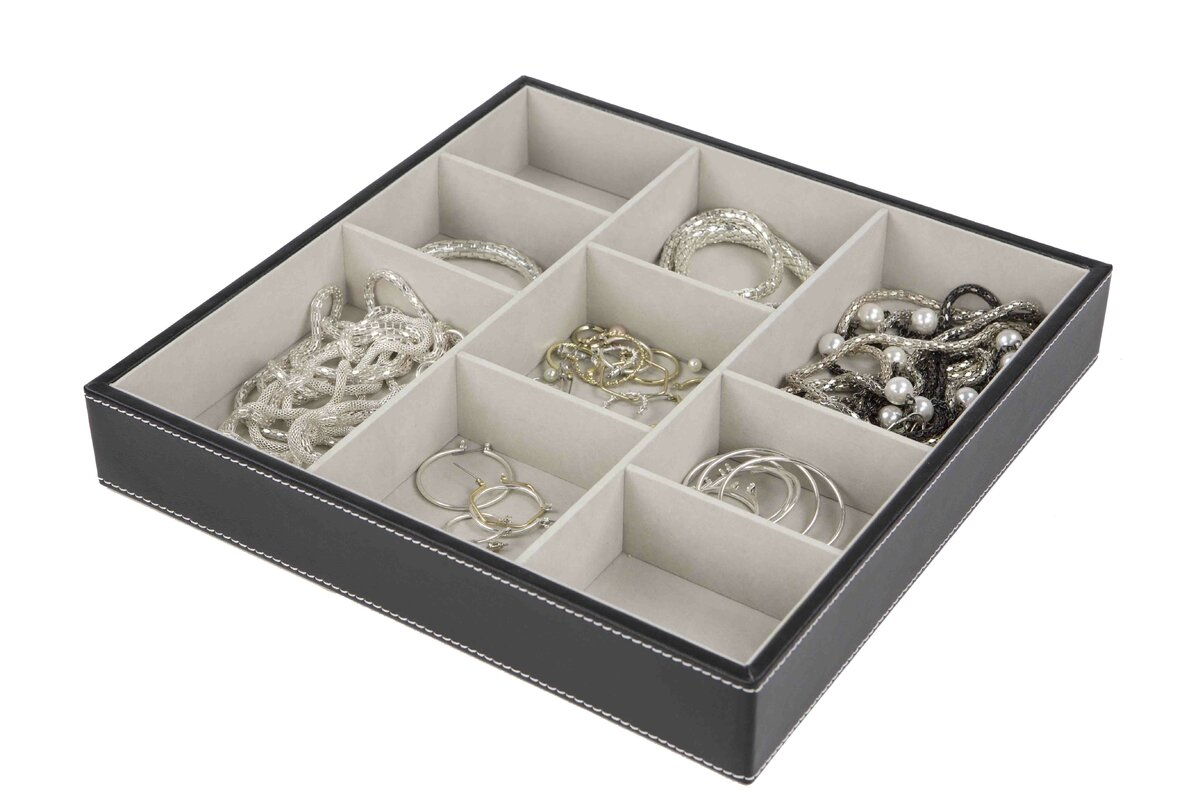 Rebrilliant 9 Compartment Faux Leather Jewelry Box Reviews Wayfair