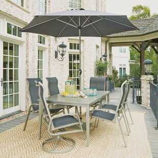 Red Barrel Studio Dinan Outdoor 7 Piece Dining Set with Umbrella