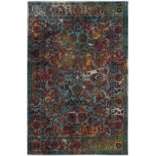 Compare prices Brazos Light Blue/Orange Area Rug By Bungalow Rose