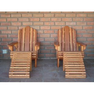 Acklins Wood Adirondack Chair with Ottoman