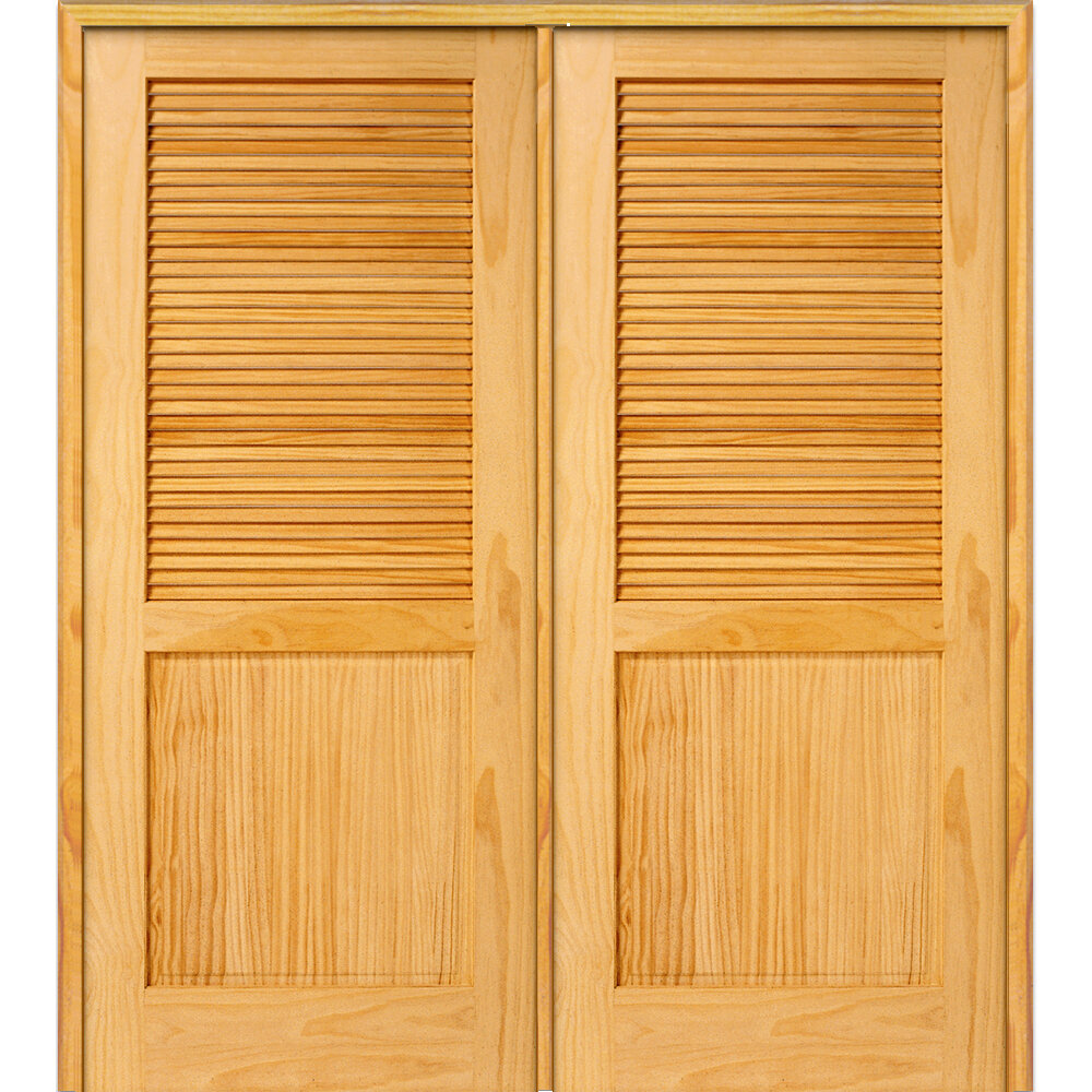 Verona Home Design Half Double Solid Manufactured Wood Louvered Mdf Prehung Interior Door Wayfair