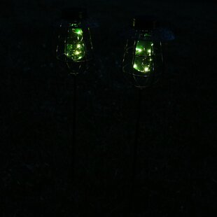Joubert Caged Solar Stake 2 Light LED Pathway Light (Set of 2)