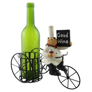 Roseann Chef Holding Sign Enjoying a Glass of Wine 1 Bottle Tabletop Wine Rack by Fleur De Lis Living