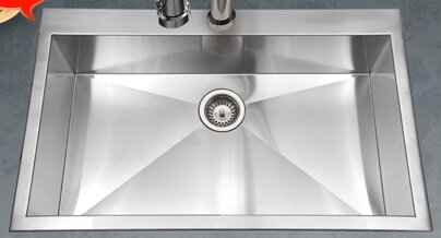 in drop stainless sinks all hole steel glacier one single p kitchen bowl brushed bay sink