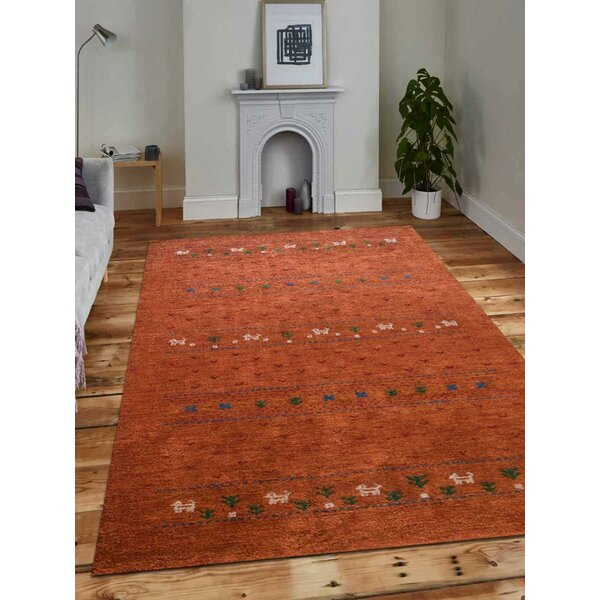 Union Rustic Paisleigh Hand Knotted Orange Area Rug Wayfair