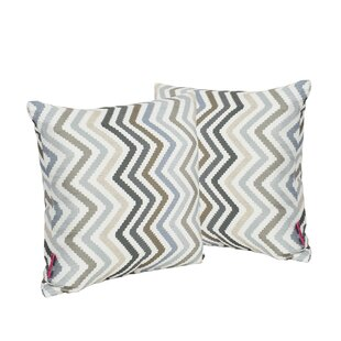Mays Chevron Square Outdoor Throw Pillow (Set of 2)