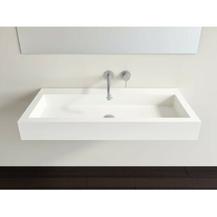 Reviews Polymarble 19 Wall Mount Bathroom Sink with Overflow By Badeloft