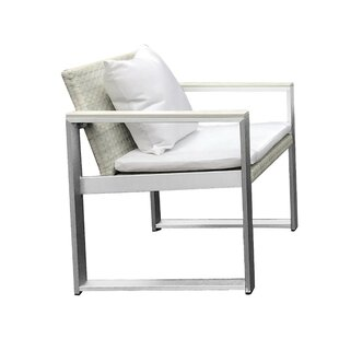 Laughlin Exquisitely Handsome Anodized Aluminum Upholstered Patio Dining Chair with Cushion