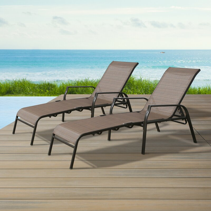 Winston Porter Patio Outdoor Chaise Lounge Chairs, Folding ... on Living Accents Sling Folding Chaise id=81057