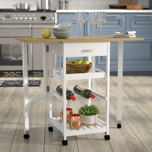 Symple Stuff Kitchen Trolley Bar Cart with Drop Down Leaves