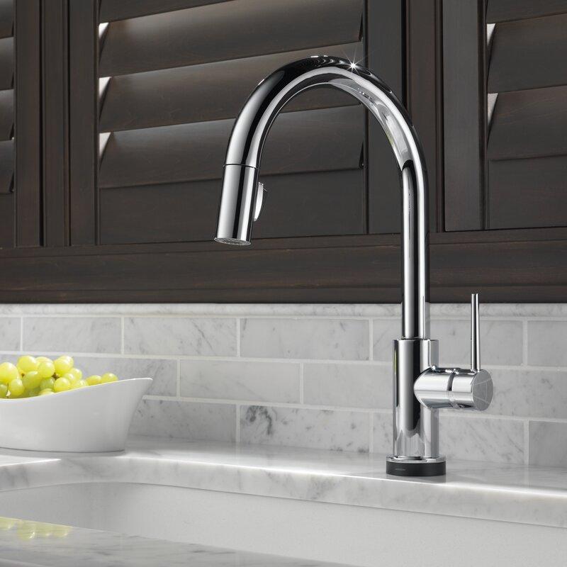 Delta Single Handle Kitchen Faucets delta trinsic® kitchen single handle pull down standard kitchen