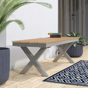 Cade Outdoor Aluminum and Poly Wood Garden Bench