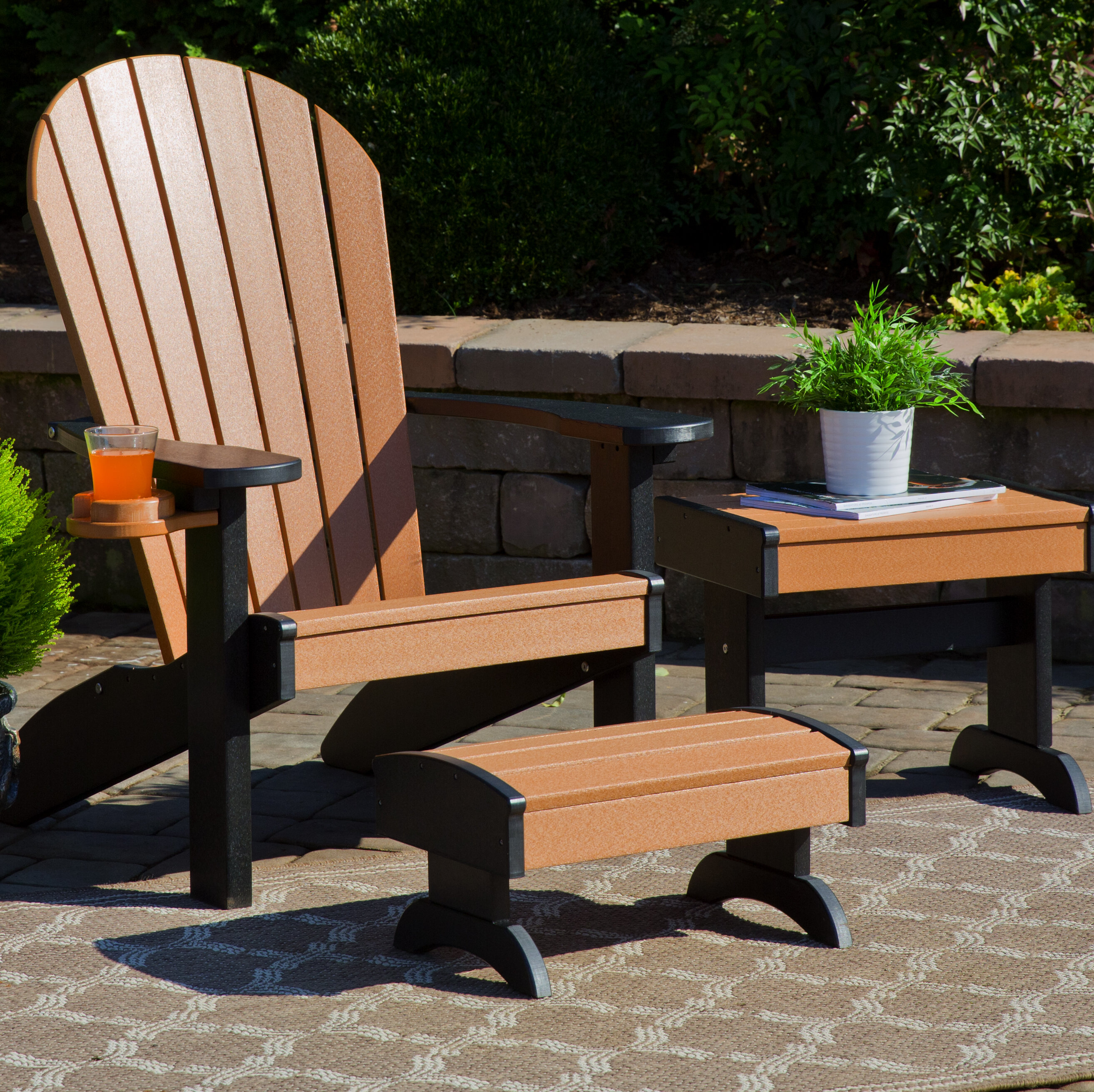 Plastic Adirondack Chairs With Ottoman.Kells 3 Piece Plastic Adirondack Chair Set With Ottoman And Table