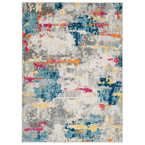 Wrought Studio Riegelsville Abstract Blue Pink Orange Area Rug Reviews Wayfair