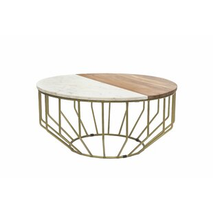 Everly Quinn Singh Wood/Marble Round Coffee Table