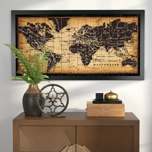Framed world map wall art youll love wayfair old world map framed graphic art gumiabroncs Images
