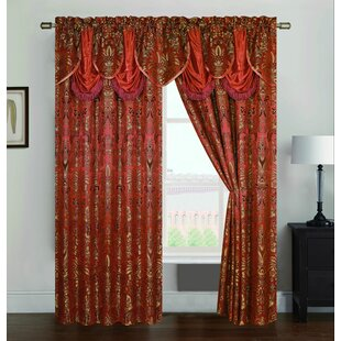 Andenwood Jacquard Floral/Flower Rod Pocket Single Curtain Panel by Astoria Grand