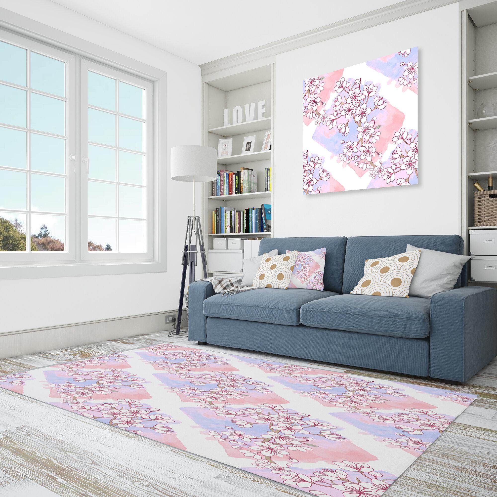 East Urban Home Floral Polyester Purple Pink Area Rug Wayfair