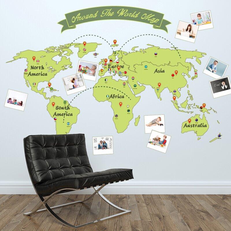 walplus around the world map wall decal   wayfair