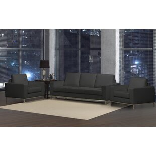 Witney 3 Piece Leather Living Room Set by Orren Ellis