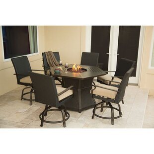 Darby Home Co Didomenico 7 Piece Dining Set with Fire Pit