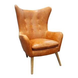 Elm Top Grain Leather Wingback Chair by Westland and Birch