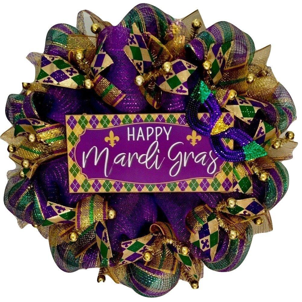 36 Happy Mardi Gras Wreath Mardi Gras Mask Teardrop Fleur De Lis Door Decor Mardi Gras Mask Swag Gold Purple Green Wreath Feather Mask Swag